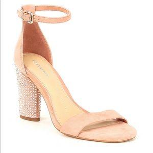 Gianni Bini Carlosa Suede Jeweled Heel Sandals NEW